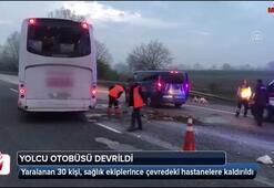Sakaryada yolcu otobüsü devrildi