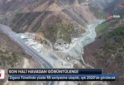 Yeni Zigana tünelinin son hali havadan görüntülendi