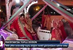 Pakistan'da 100 çiftin evlendiği toplu düğün