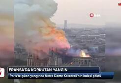 Yanan Notre Dame Katedralinin kulesi çöktü