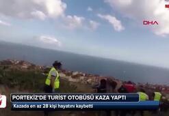 Portekizde turist otobüsü kaza yaptı