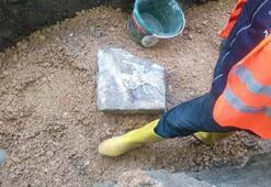 Susurlukta kanalizasyon çalışmalarından lahit çıktı