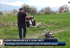 Drone ile 5 dönümlük araziyi 20 dakikada ilaçlıyor