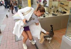 Pınar Altuğ kediyi sevdi