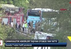 Törenden dönen askerleri taşıyan otobüs devrildi: 7 yaralı