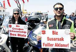 Çocuk istismarına motosikletli protesto