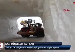 Askeri üs bölgesinin yolunu kar tünelleri oluşturarak kaçtılar