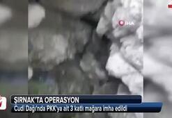 Cudi Dağında PKKya ait 3 katlı mağara imha edildi