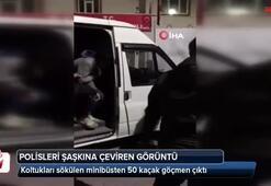 Koltukları sökülen minibüsten 50 kaçak göçmen çıktı