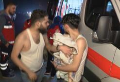 Yangında mahsur kalan anne, baba ve 2 aylık bebeği itfaiye kurtardı