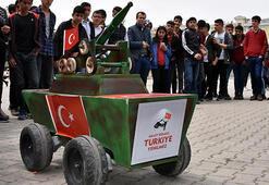 Lise öğrencisi ateşlenebilen, insansız mini tank yaptı