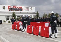 Trafik kazasında şehit olan polisler için tören