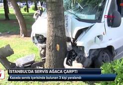 İstanbulda servis aracı ağaca çarptı