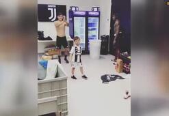 Miralem Pjanicin oğlu pratik yapıyor