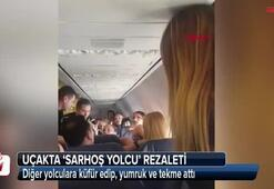 Uçakta sarhoş yolcu rezaleti