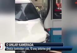 Otobüs kontrolden çıktı, 10 araç birbirine girdi