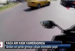 Sağ şeritten aniden sola şeride gitmeye çalışan otomobile taksi çarptı
