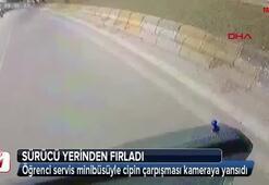 Öğrenci servisi kaza anı araç kamerasında