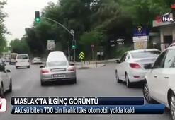 Aküsü biten 700 bin liralık lüks otomobil yolda kaldı