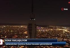 Işıklandırılan Çamlıca Kulesi havadan görüntülendi