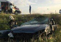 Kırıkkalede otomobil takla attı: 1 ölü, 4 yaralı