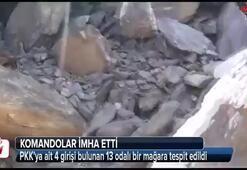 PKK'ya ait 4 girişi bulunan 13 odalı bir mağara tespit edildi