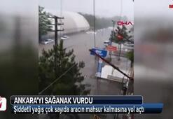 Ankarayı sağanak vurdu Sokaklar göle döndü