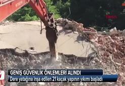 Dere yatağına inşa edilen 21 kaçak yapının yıkımı başladı