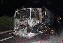 Seyir halindeyken alev alan TIR tamamen yandı