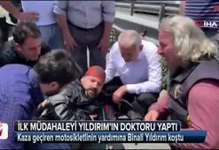 Kaza geçiren motosikletlinin yardımına Binali Yıldırım koştu