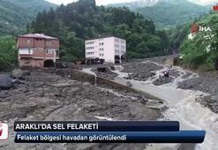 Araklıda sel felaketinin yaşandığı bölge havadan görüntülendi