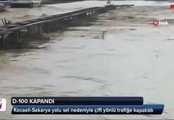 Kocaeli-Sakarya yolu sel nedeniyle çift yönlü trafiğe kapatıldı
