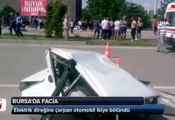 Direğe çarpan otomobil ikiye bölündü: 2 ölü