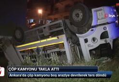 Başkent'te çöp kamyonu takla attı