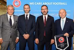Bakan Kasapoğlu ve TFF Başkanı Özdemirden UEFA Başkanı Ceferine ziyaret