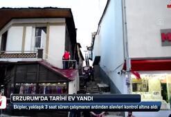 Erzurumda tarihi ev yandı