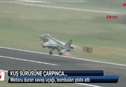 Kuş sürüsüne çarpınca motoru duran savaş uçağı, bombaları piste attı