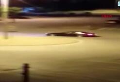 Drift yapan sürücü kemarada