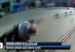 Bisiklet yoldaki yaşlı adama çarptı