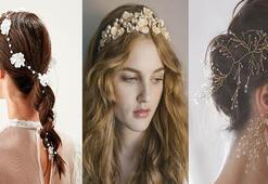 Yaz düğünü için gelinlik saçı aksesuarları