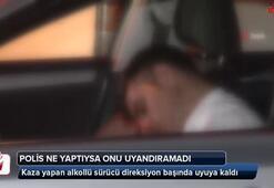 Kağıthane'de kaza yapan alkollü sürücü direksiyon başında uyuya kaldı