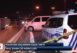 Dur ihtarına uymayan polisten kaçarken kaza yaptı... Araç içinden 20 mülteci çıktı