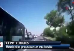 TEM Otoyolu'nda kazadan kıl payı kurtuluş kamerada