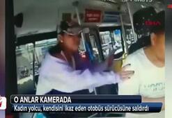 Kadın yolcu, kendisini ikaz eden otobüs sürücüsüne saldırdı
