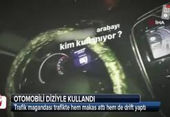 Trafikte otomobilini diziyle kullanan maganda kamerada