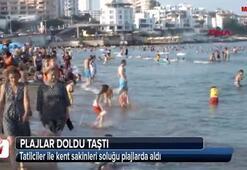 Sıcak hava bunalttı, plajlar doldu taştı