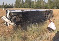 Ayfonkarahisarda yolcu otobüsü devrildi