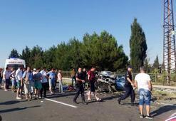 Edirnede otomobil duvara çarptı: 4 ölü, 2 yaralı