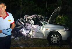 Karabükte çok feci kaza: Otomobil bu hale geldi