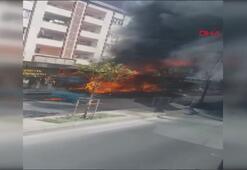 Esenyurt'ta iki katlı otobüs alev alev böyle yandı